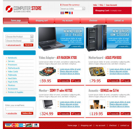 Christmas Store Template for OSCommerce For OSCommerce version 2.2 only